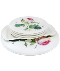 Набор тарелок + поднос+блюдо Роза